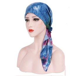 1 UNID Nueva moda Satén Mujeres India Musulmán Stretch Turbante Sombrero  Tie-dye Gorra de Algodón de Pérdida de Peso Unisex Cabeza Bufanda Abrigo  sombrero ... 93c11538ae3