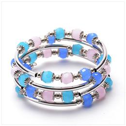 Браслеты для шпагата онлайн-Естественный квадратный Кристалл шпагат браслет Моды многослойные леди браслет
