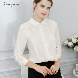 47e115172285 Hanyiren Korean Ruffle Chiffon Blouse Long Sleeve Turn Down Collar Solid  Ladies Top 2018 Autumn New Fashion blusas femininas
