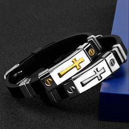 2019 i braccialetti del braccialetto dell'oro Braccialetti in silicone Moda oro argento punk crocifisso in acciaio inossidabile design lunghezza regolabile uomini gioielli bracciali polsini bracciale regalo sconti i braccialetti del braccialetto dell'oro