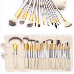 Make-up pinsel set real online-Bei Mode 12/18 / 24pcs Make-up Pinsel Schönheit professionelle synthetische Kit Pinsel Pulver echte Kosmetik Make-up Pinsel Set mit Tasche