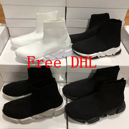 Wholesale Best Zoom - Free DHL With box zoom best slip-on Speed Trainer high Sock shoes original quality White black wine red women mens Running Shoes