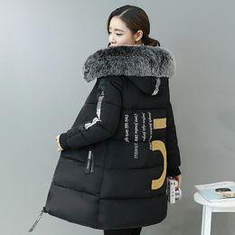 Wholesale girls black fur coat - Winter Jacket Women 2017 Mid-long Thicken Warm Slim Casual Down Parkas Coat Faux Fur Collar Hooded Jacket For Girl DQ172325
