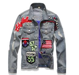 Canada Hommes Slim Vintage Drapeau Américain Jeans Veste Manteau En Denim Moto Punk Casual Turn Down Collar Badge Patch Design Vêtements De Dessus Top # 993 cheap turn patch Offre