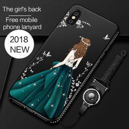 couverture d'iphone Promotion Pour iphone X Case Filles De Mariage Robe Peinture Diamant Cases Rouge Souple TPU Couverture Arrière Pour Iphone 6 7 8 Plus Shell DHL Gratuit