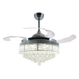 Versenkbare deckenleuchten online-36-Zoll-42-Zoll-moderne LED-Deckenventilator einziehbare Flügel Crystal Chandelier Fan mit Fernbedienung Kronleuchter Deckenleuchte Lampe