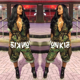 Wholesale geometric jumpsuits for women - Women Camo Junkie Jumpsuit Summer short sleeve Knee Length Comoflog jumpsuits tracksuit with National Flag outfits for US Independence Day