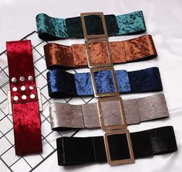2019 corsé de terciopelo 2018 Otoño Lujo Velvet PU Vestido Cinturones Para Las Mujeres 7.5 CM de Cintura Ancha Cinturones Elegantes Señoras de Plata Azul Hebilla Corsé Banda de Cintura corsé de terciopelo baratos