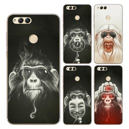 Wholesale monkey phone covers - For Huawei Honor 6A 7X 8 9 Mate 8 9 Nova Case Cover Soft TPU Silicone Cool Glasses Smoking Mask Monkey Orangutan Painted Back Phone Shell