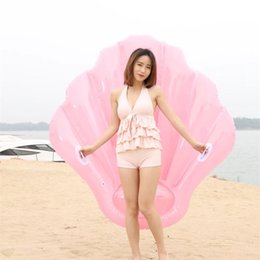Wholesale Beach Sea Shells - New Style Inflatable Pool Floating Row PVC Pink Sea Shell Swimming Ring Summer Beach Drift For Adult Board Floats Bed Hot Sale 68JL Y