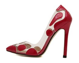 Wholesale transparent pvc red high heels - Summer Women High Heels Pumps transparent Dress Shoes Woman Sexy Pointed Toe Pump zapatos PVC party Shoes