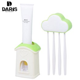 Wholesale toothpaste dispenser toothbrush - Sdarisb Automatic Toothpaste Dispenser 4 Toothbrush Holder Set Wall Mount Stand Toothbrush Family Sets Clouds Creative Cartoon
