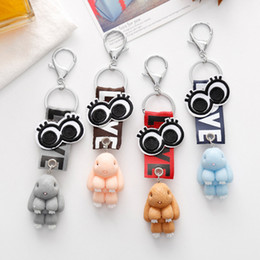 Wholesale Korean Wholesale Christmas Gift Bags - Korean Rabbit KeyChain LOVE Printed Ribbon Eye Keyring Bag Key Chains Rings Handbag Pendant Christmas Gift 12pcs Set D531L