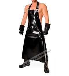 Tuta in gomma online-Grembiule in lattice Grembiule completo lunghezza uomo vestito in lattice spessore 0,6 mm sexy