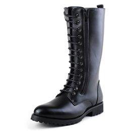 Argentina Hombres vendedores calientes Negro Martin Boot Moda Lace Up Cowboy Botas de la motocicleta Hombre Rodilla Bota alta Doble Zip Trending Zapatos de ocio Male Botas supplier zip up shoes Suministro