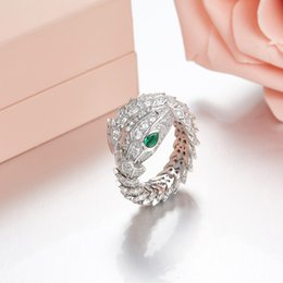 snakes 925 ring Canada - European and American luxury new design fashion party jewelry for women 925 sterling silver full zirconia stone green eyes snake rings