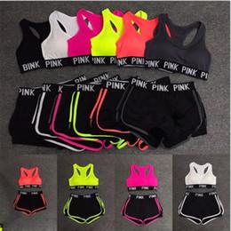 Wholesale Sport Short Pants For Women - New 2018 Love Pink Letter Tracksuit for Women Sports Bra Shorts Pants 2pcs Suit HOT Fitness Gym Vest Bras Underwear Sets DHL FREE