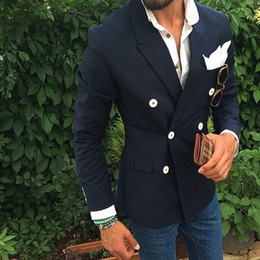 Wholesale Custom Blazers For Men - Latest Designs Navy Blue Wedding Suits For Men Double Breasted Formal Custom Made Groom Blazer Suit Slim Fit Terno (Only Jacket)