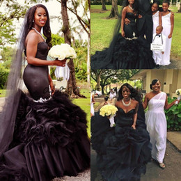 Wholesale Wedding Dress Fishtail Sweetheart - Sexy Black Ruffles Skirt Mermaid Garden Wedding Dresses Cheap with Beaded 2018 Modest Sweetheart Nigerian African Fishtail Bridal Gowns