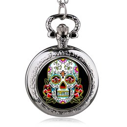 Wholesale Skull Watch Necklace - Retro Pirate Skull Theme Pocket Watch With Necklace Chain Best Gift To Men Women