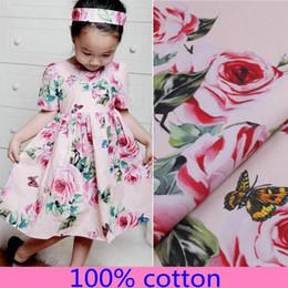 1 metro rosas románticas tela impresa tela de popelín de algodón siciliano Tissus para mujeres niños vestido de vacaciones de verano ropa desde fabricantes