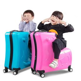 Универсальный проездной багаж онлайн-20/24 дюймов ездить детская тележка сумка может сидеть универсальное колесо Троянский чемодан мужчины женщины посадка багажа мультфильм дорожные сумки