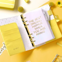 Wholesale Notebook Yellow - Dokibook Lovedoki new agenda 2018 freeshipping notebook A5 A6 planner kawaii diary cute school stationary spring stripe Yellow