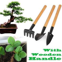 camping rucksackschaufeln Rabatt 3 teile / satz Mini Gartengeräte Schaufel Rake Spade Gartenpflanze Werkzeug-set Mit Holzgriff Kinder Werkzeuge