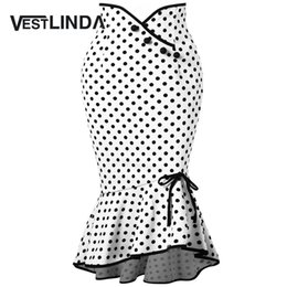 Wholesale trumpet bowknot - VESTLINDA Polka Dot Ruffle Mermaid Skirt Work Office Skirts 2018 Casual Ladies Trumpet Skirts Summer Womens Casual Bowknot Skirt