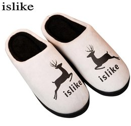 Wholesale Home Lamb - New Winter Slippers Cartoon Deer Printed Couples Plush Home Slippers Lamb Wool Women Men Indoor Floor Slippers Cotton Shoes