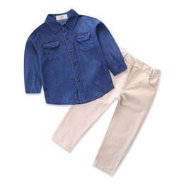 Wholesale Boys Cowboy Shirt - Boys gentlmen cowboy shirt 2pc sets dark blue long sleeve denim shirt+cotton pants infant kids boys casual outfits for 1-7T