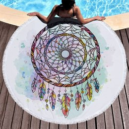 pva fiber Coupons - Round Soft Beach Towel Dream Catcher Pattern Superfine Fiber Fashion Fringed Lace Swimming Bath Towels High Quality 27jm Ww