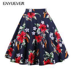 Jupe plissée à plus grande taille en Ligne-Enyuever Womens Skirt Plus Size 50s Vintage Floral Print Faldas Mujer Été Plissé Midi Taille Haute Élégant Skater Casual Jupe