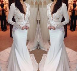 2019 nouvelle mode à manches longues robes de mariée sirène robes en dentelle illusion corsage essuyage longue section moderne gaine colonne robes de mariée ? partir de fabricateur