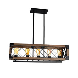 Wholesale Linear Pendant - Rustic Kitchen Island Light, 5-Light Square Wood and Metal Pendant Lighting Industrial Vintage Chandelier Adjustable Linear Caged Light Fixt