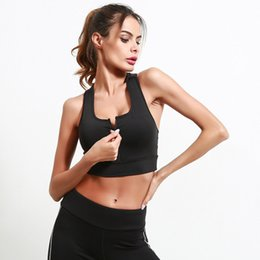 a402011aa7 Women Workout Suit Front Zipper Sleeveless Push Up Pad Black Crop Tank Tops  Stretch Quick Dry Sexy Gym Fitness Yoga Sport Bra 45