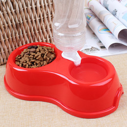 Wholesale Pet Water Fountains - 2018 Dual Port Dog Automatic Water Dispenser Feeder Utensils Bowl Cat Drinking Fountain Food Dish Pet Bowl Free Shipping