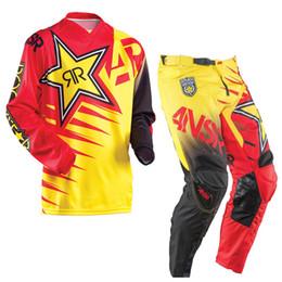 Wholesale motorbike cross - Answer Motocros MX Suits Motorbike jersey Trousers Motorcycle Racing Pants ROCKSTAR Motor Off Road Auto Cross pants pantalees
