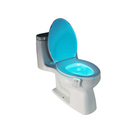Wholesale Toilet Bowls - 1Pcs PIR Motion Sensor Toilet Seat Novelty LED lamp 8 Colors Auto Change Infrared Induction light Bowl For Bathroom lighting