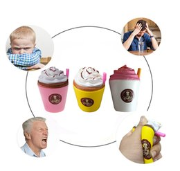 Wholesale iced coffee wholesale - Squishy Jumbo Simulation Ice Cream Coffee Straw Cup Relieve Stress Relief Healing Toy Coffee Shop Decoration DDA181