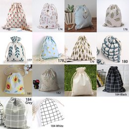 bolsa de regalo al azar Rebajas 9 Estilos Random Cotton Line Drawstring Pouches Candy Favor Holder Jewelry Party Bag Christmas Gift Pouch 19x24cm Bag 10pcs