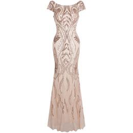 Платье ангела онлайн-Angel-fashions Женское Бато Бейсболка с цветочным принтом и V-образным вырезом Вечернее платье Вечернее платье 378