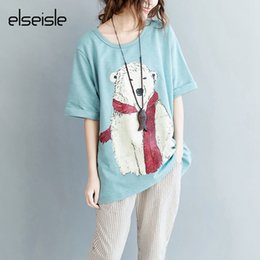 Wholesale Korea Top Tee - elseisle Japan Style Summer Women T-shirt with Polar bear Print Korea Fashion Big Size T Shirt womens Large Size Top Tees Femme