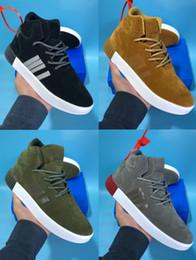 size 40 132fc be247 8 colores Tubular Invader cuero de gamuza negro blanco trigo verde gris zapatillas  para hombre Botas para hombre Diseñador casual zapatillas de baloncesto ...