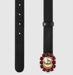Pietre reali online-NUOVA cintura donna 2018 stile principale larga 2,25 cm con fibbia in pietra rossa immagine reale cinghie 100cm-125cm