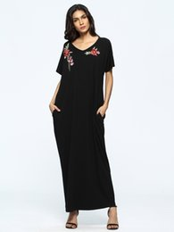 Canada 2018 Mode musulmane, robe d'été du Moyen-Orient, robe brodée, robe lâche arabe, Abaya Musulman, robes, mode, Ramadan cheap fashion muslim dress Offre
