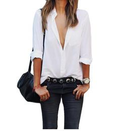 Blusas brancas de manga comprida xxl on-line-2018 Moda Mulher Manga Longa blusa Camisa branca Camisa de Bolso Das Senhoras Das Mulheres Casual Tops Plus Size Blusa Feminina Branca Elegante XXL