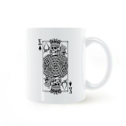 Wholesale ceramic games - King Of Skull Card Poker Game Mug Coffee Milk Ceramic Cup Creative DIY Gifts Home Decor Mugs 11oz T699