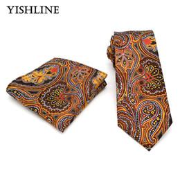 Wholesale Orange Silk Handkerchief - T158 Classic Men's Silk Tie & Handkerchief Set Man 8CM Orange Paisley Jacquard Woven Necktie For Wedding Party Hanky Neck Ties