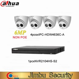 Grabadora de video dahua online-El kit Dahua IP NVR incluye grabadora de video 4CH H.264 + NVR2104HS-S2 y cámara IP 6MP H.265 IPC-HDW4636C-A MIC incorporado IR50m